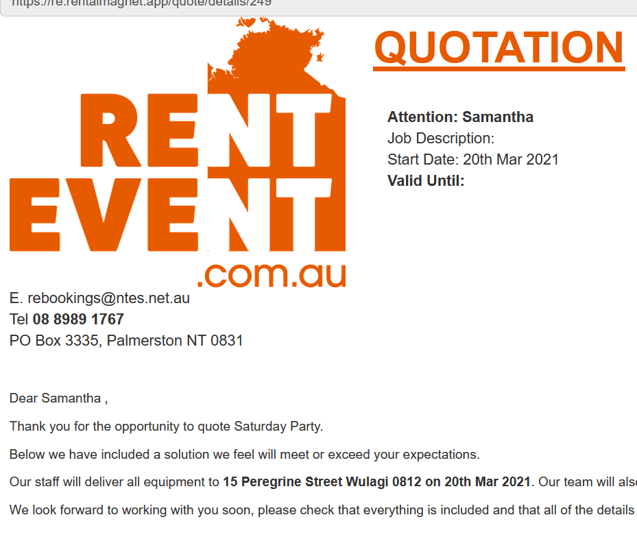 quotation for hire and rental software